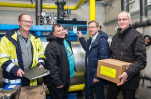 Starteten das erste Projekt der Gemeindewerke (von links): Thomas Nüsse (Geschäftsführer Nüsse Kabel- und Rohrleitungsbau), Thomas Lorenz, Otto Steinkamp und Andreas Hammersen (technischer Leiter Krapp Objekte).